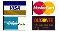Credit Cards- Visa, MasterCard, American Express and Discover